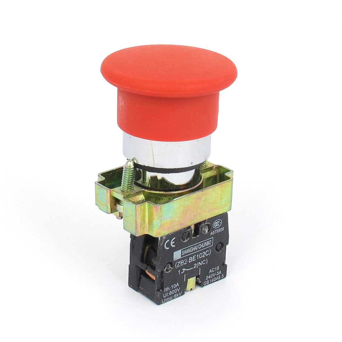 415V 10A 22mm Panel Cutout Dia Red Mushroomhead 1NC Momentary Button Switch