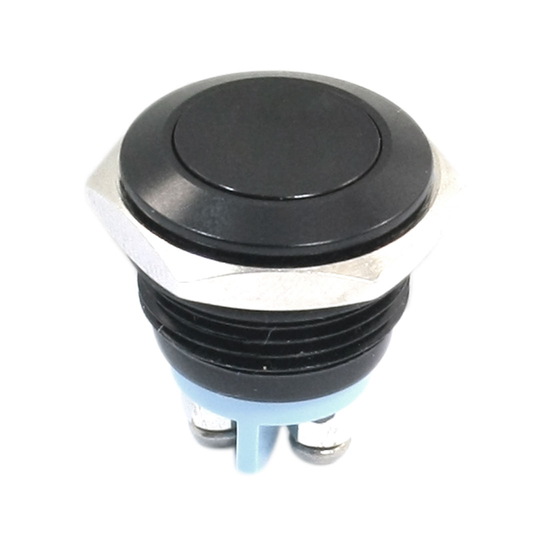 16mm Mounting Dia Momentary SPST Black Flat Head Push Button Switch