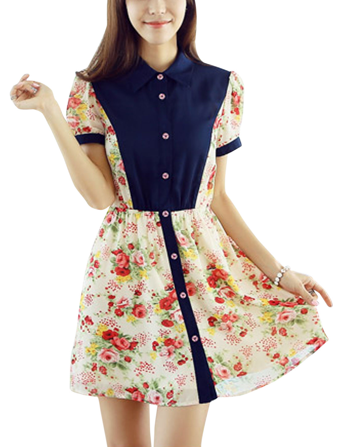 Lady Point Collar Short Sleeve Button Up Floral Prints Dress Multicolor S