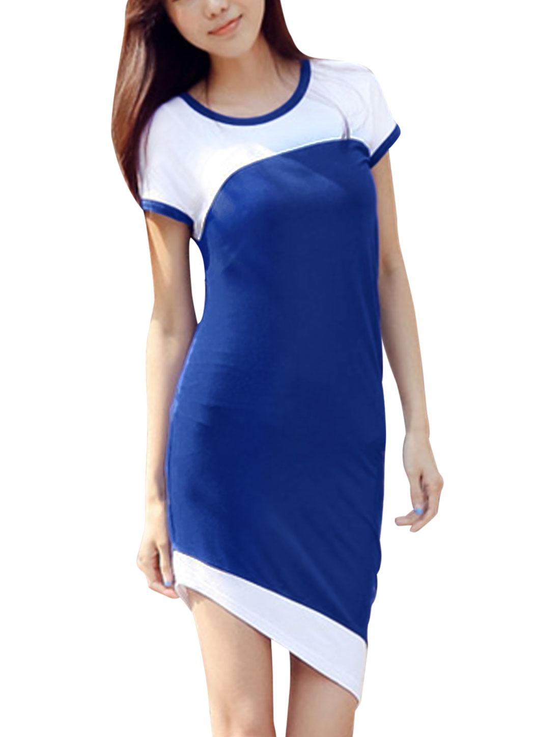 Lady Round Neck Short Sleeve Colorblock High Low Hem Dress Royal Blue S