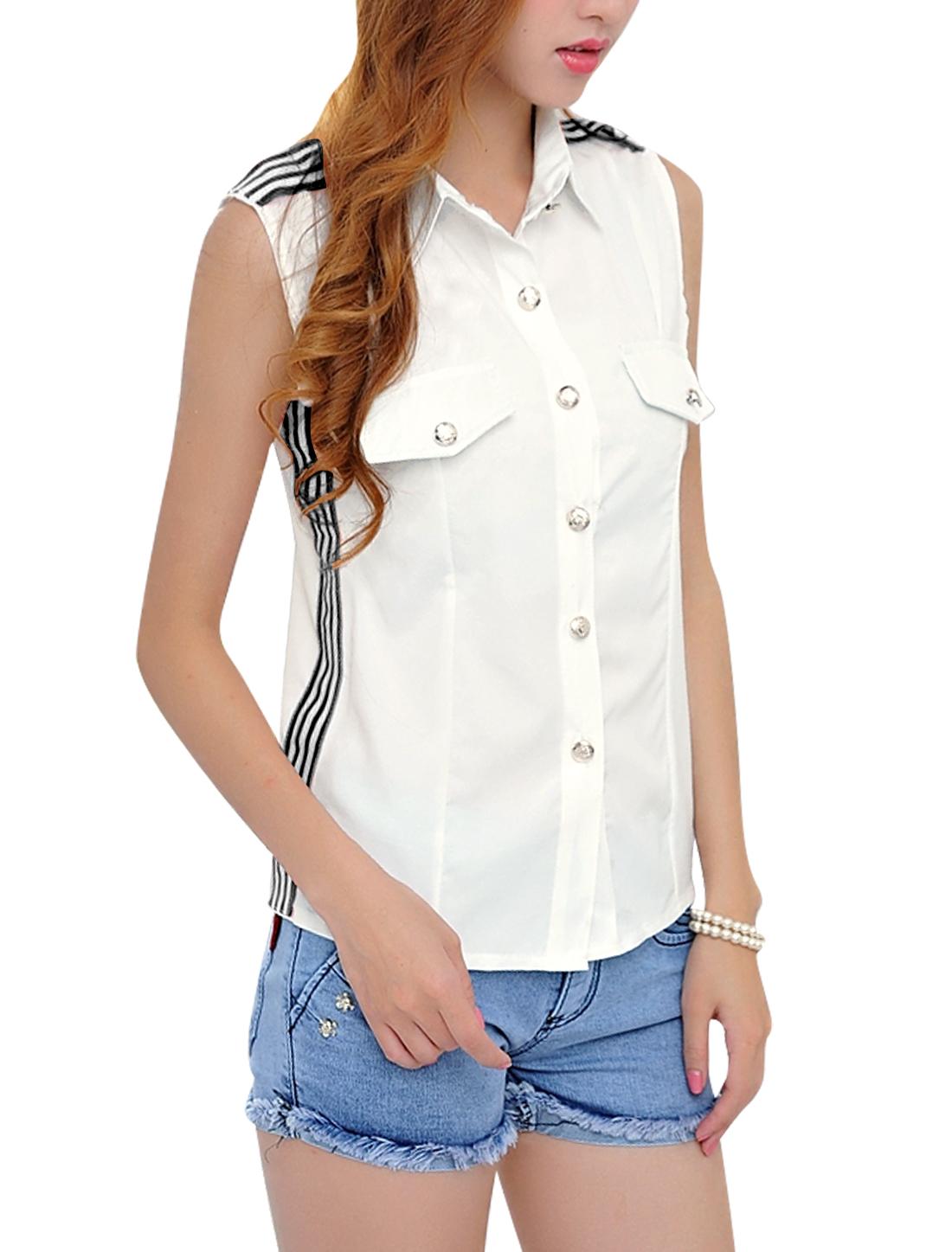 Women Point Collar Mock Pockets Fashion Tank Top Black White S
