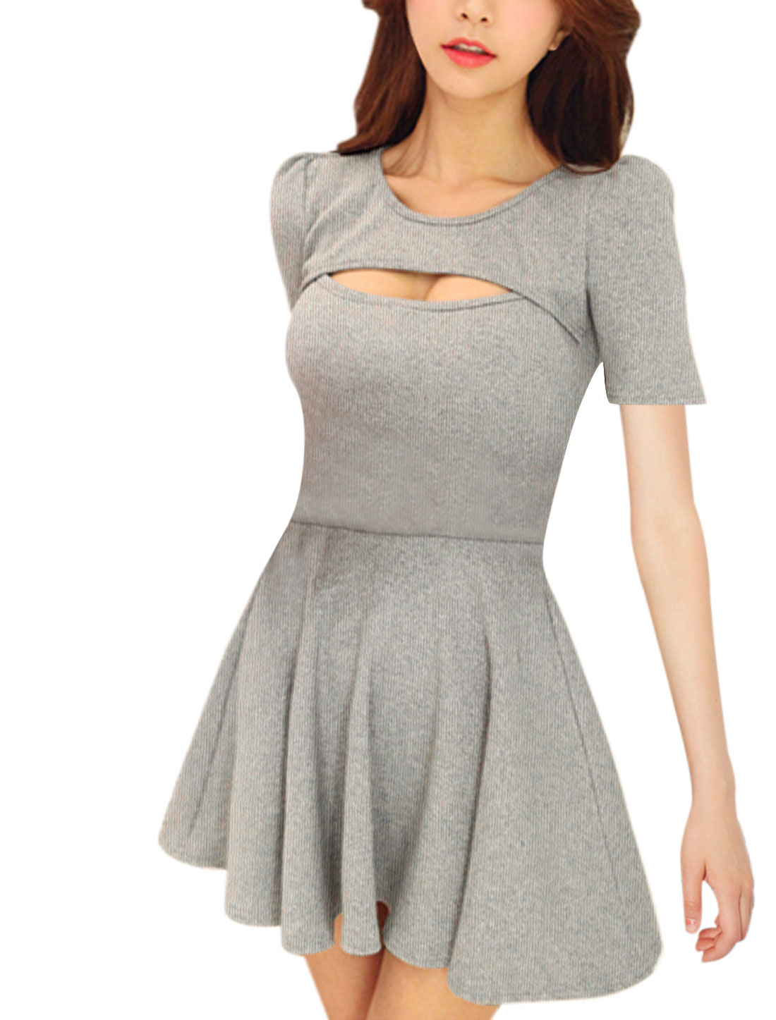 Ladies Stretchy Ruffled Design Cut Out Front Sexy Dress Light Gray S