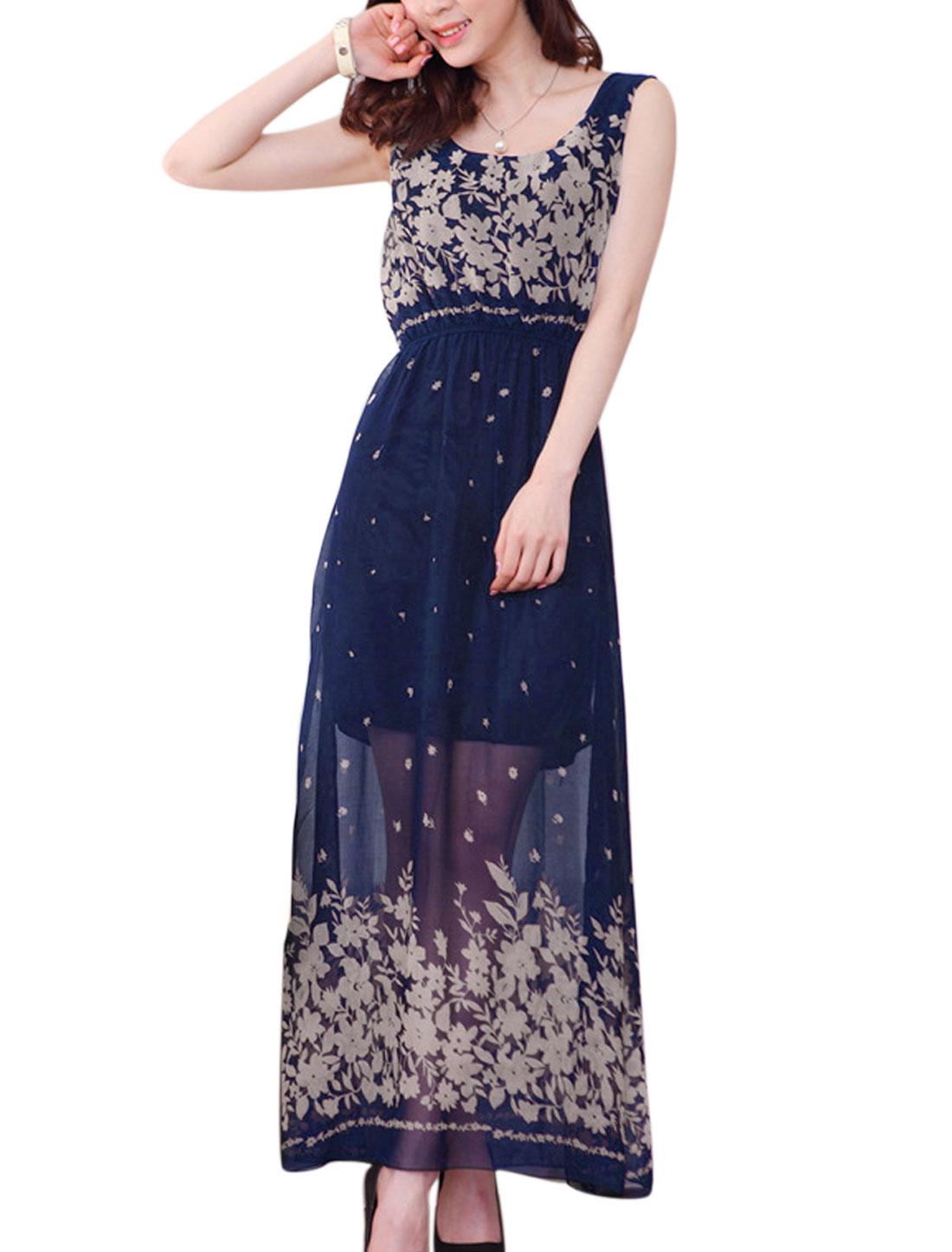 Lady Sleeveless Elastic Waist Floral Prints Chiffon Dress Dark Blue XS