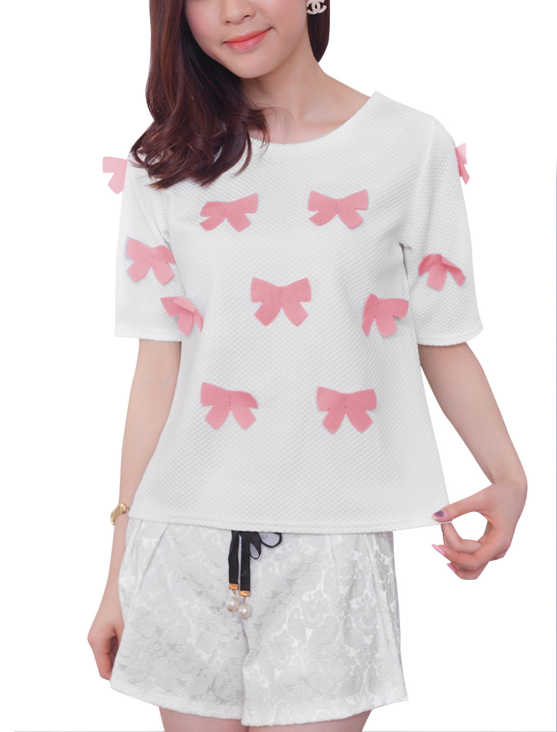 Lady White Pink Round Neck Short Sleeve Butterfly Applique Design T-Shirt XS