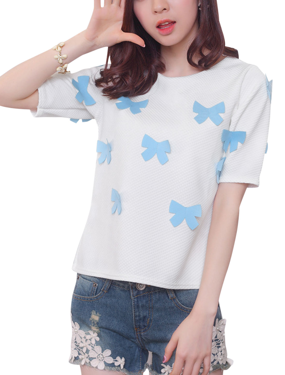 Lady White Blue Casual Style Short-sleeves Chic T-Shirt XS