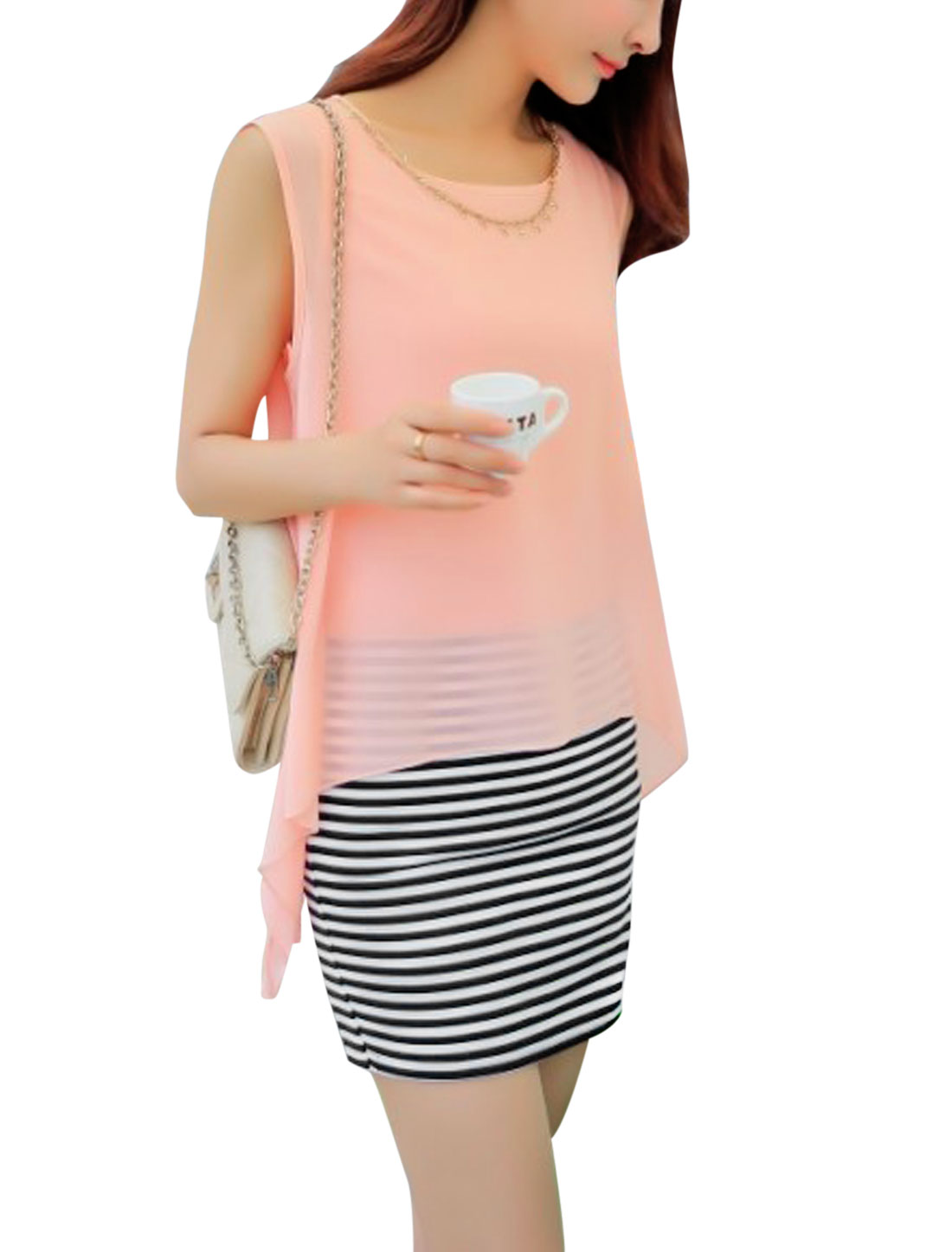 Lady Stripes Pattern Chiffon Panel Design Straight Dress w Necklace Light Pink M