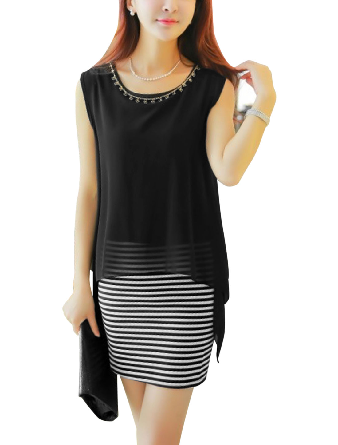 Lady Black Horizontal Stripes Fake Two Piece Design Straight Dress w Necklace M
