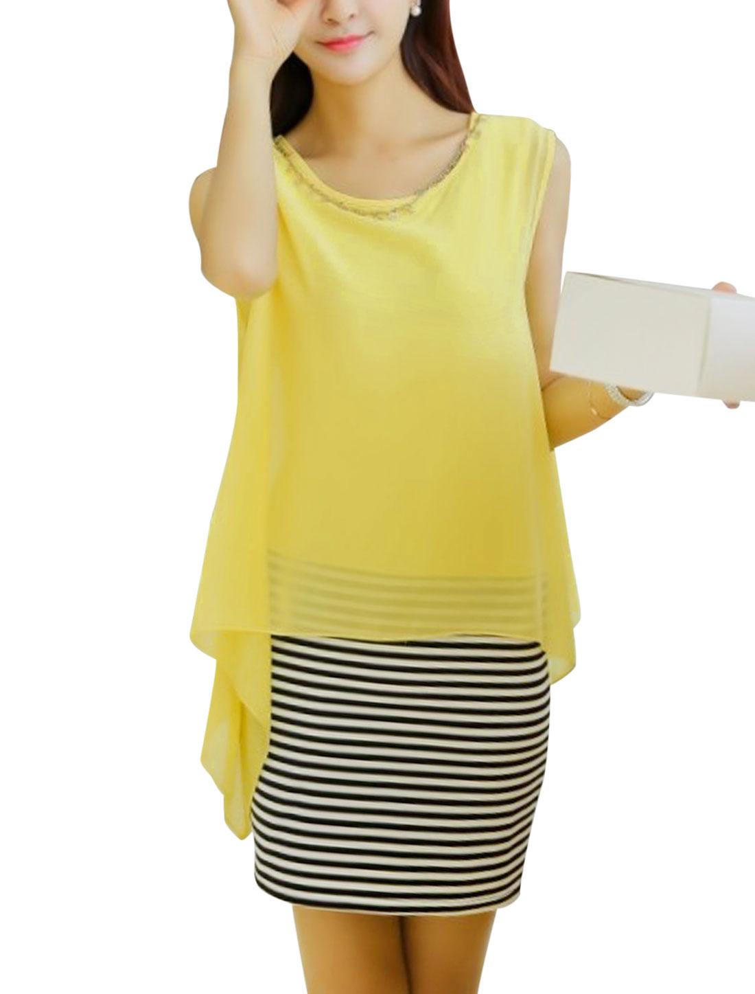 Women Yellow Chiffon Patchowrk Sleeveless Above Knee Straight Dress w Necklace M