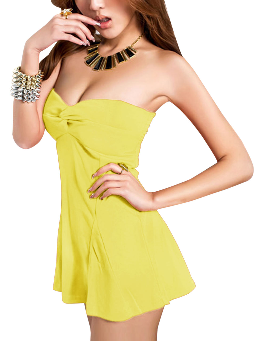Woman Sleeveless Ruched Back Design A-line NEW Style Top Yellow XS