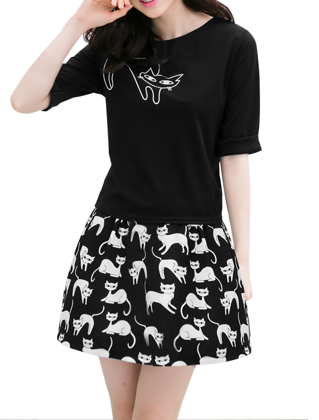 Lady Cat Prints Hidden Zipper Top w Elastic Waist Skirt Black S