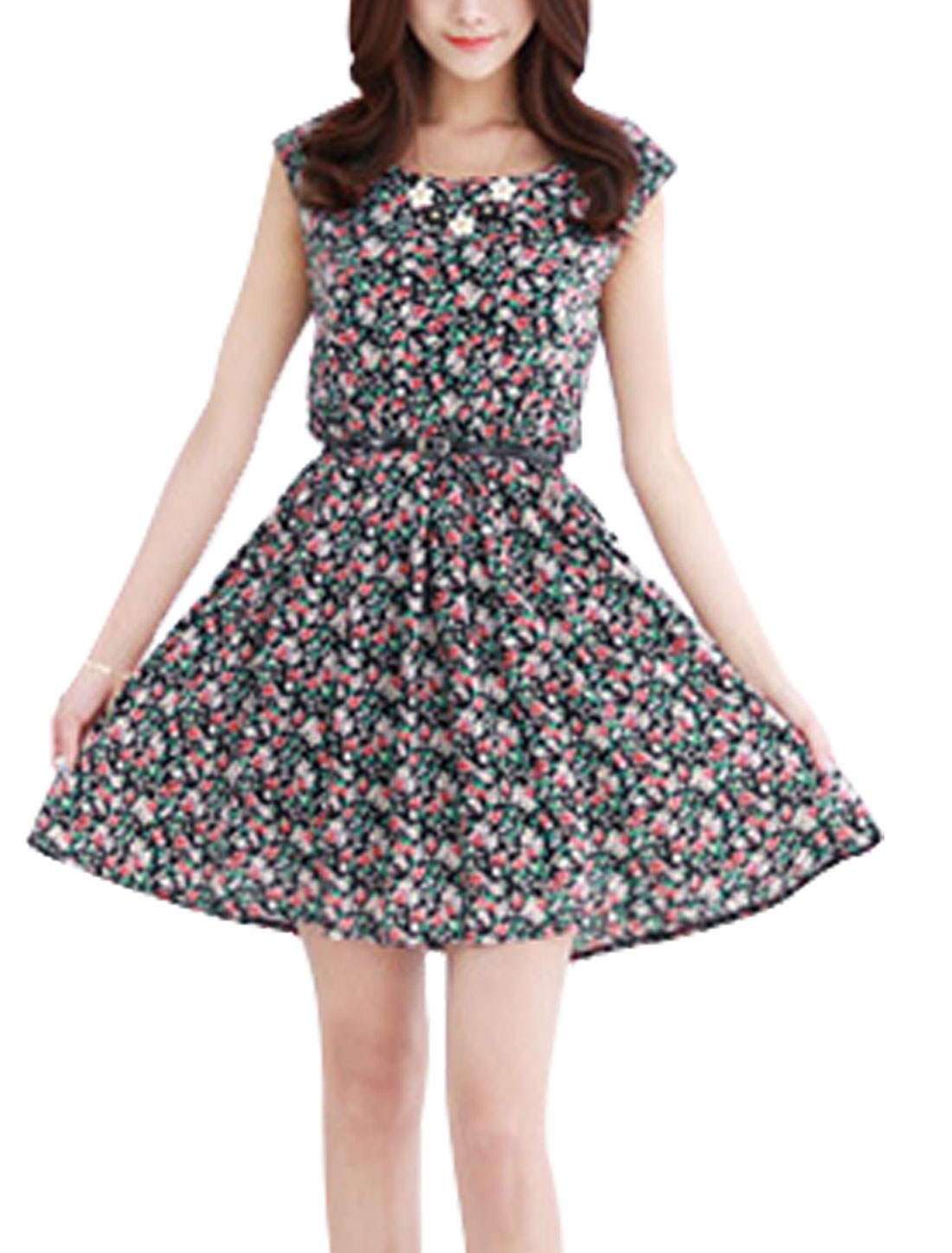 Lady Floral Prints Round Neck Elastic Waist Blouson Dress w Waist Belt Black S