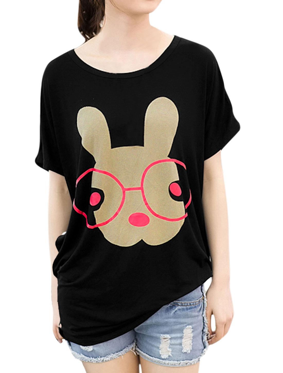 Ladies Round Neck Rabbit Print Batwing Short Sleeve Tee Shirt Black XS