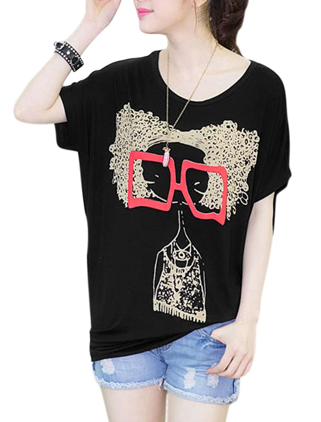 Woman's Short Dolman Sleeve Round Neck Portrait Print T-Shirt Black XS