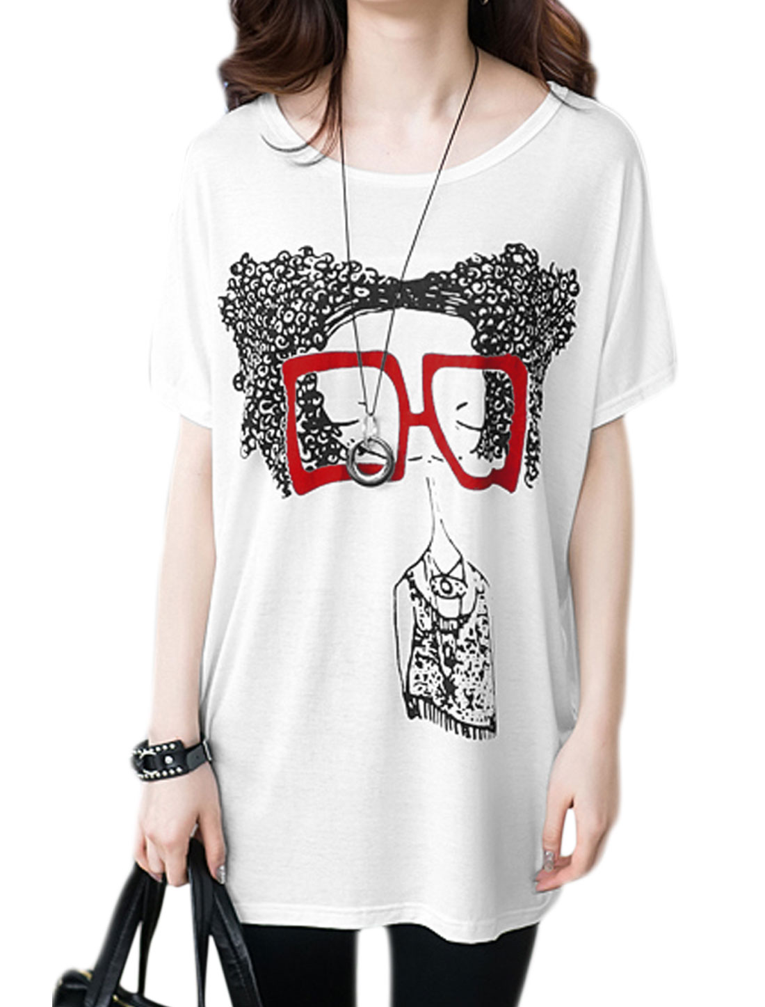 Lady Portrait Print Short Bat Sleeve Round Neck Pullover T Shirt White XS