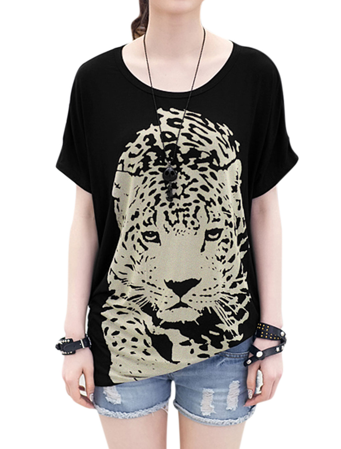 Women Round Neck Batwing Short Sleeve Pullover Tiger Prints Tee Shirt Black XS