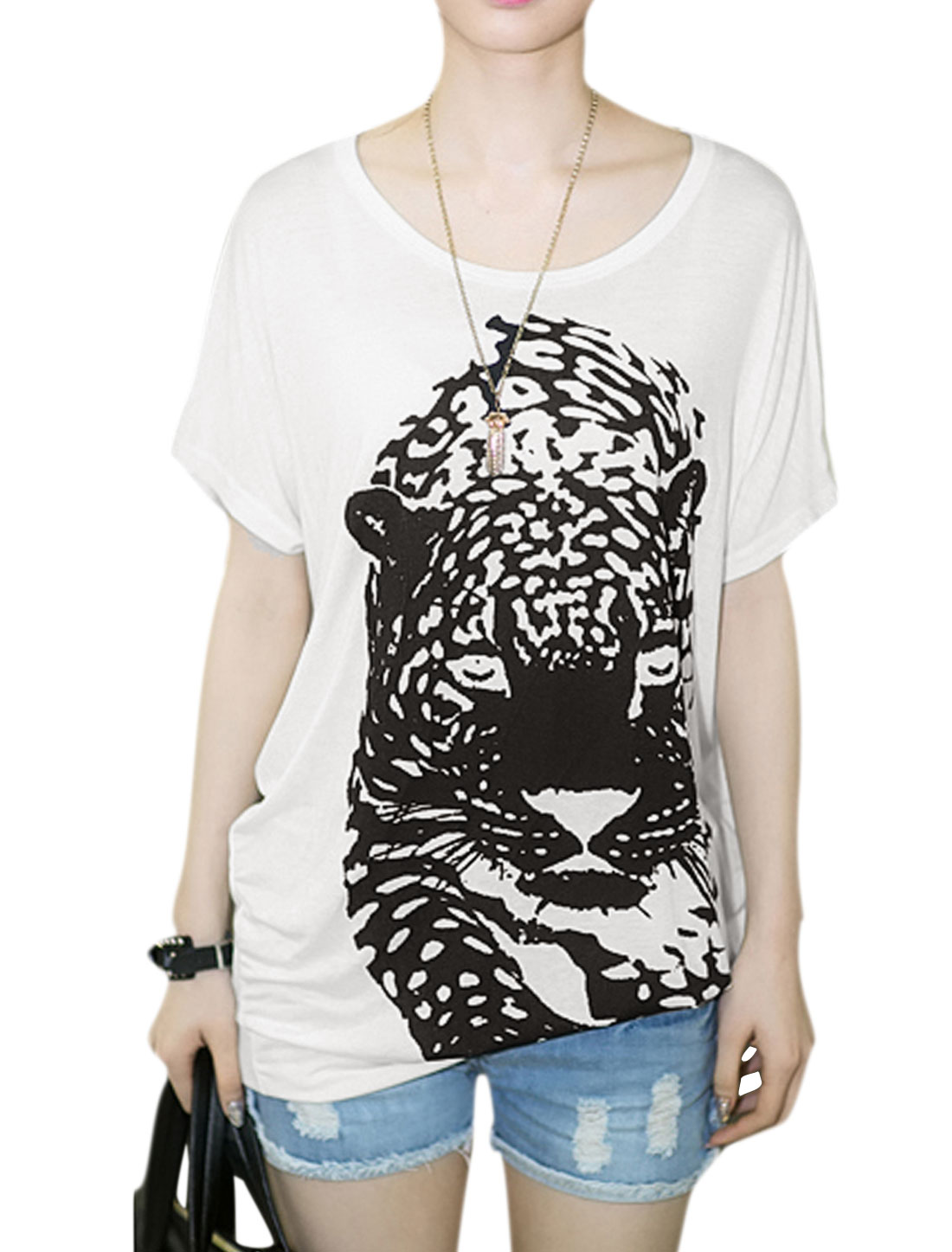 Round Neck Short Bat Sleeve Tiger Pattern Casual White T Shirt for Woman XS