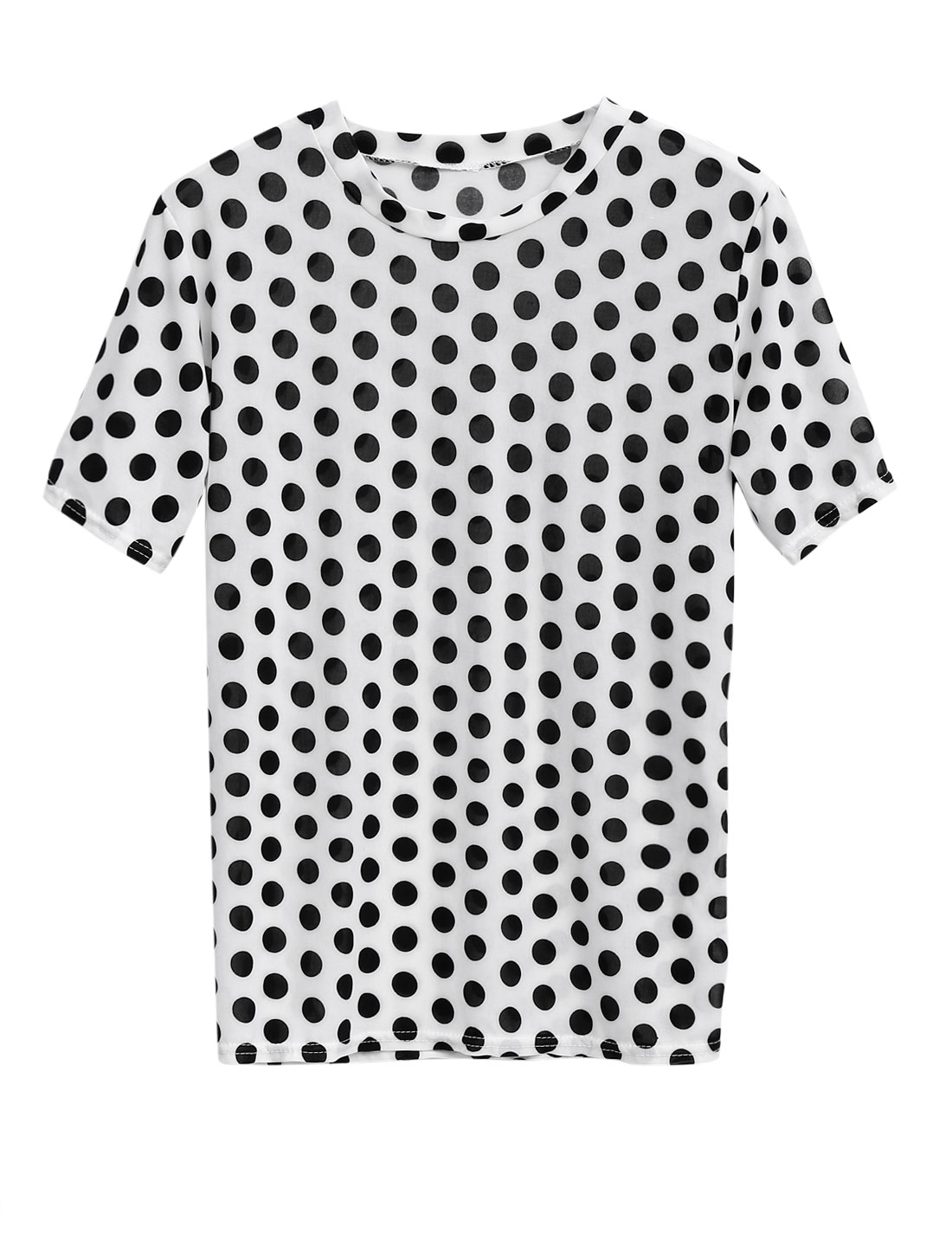 Lady Round Neck Short Sleeve Dots Pattern Tunic Top White XS