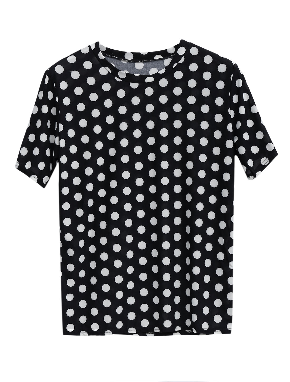 Lady Summer Short Sleeve Dots Pattern Tunic Top Black XS