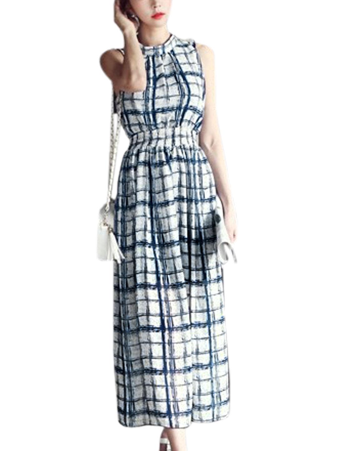 Women Stand Collar Check Pattern Elegant Chiffon Tank Dress Navy Blue White XS