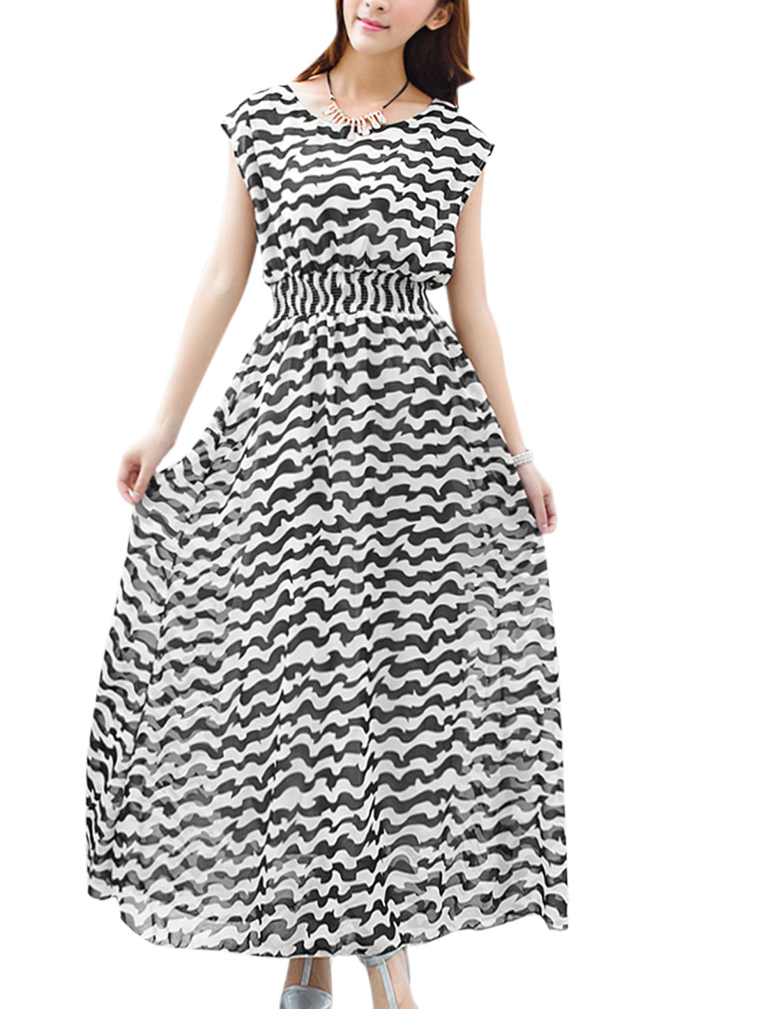 Women Chic Empire Waist Ruffled Design Chiffon Tank Dress Black White XS