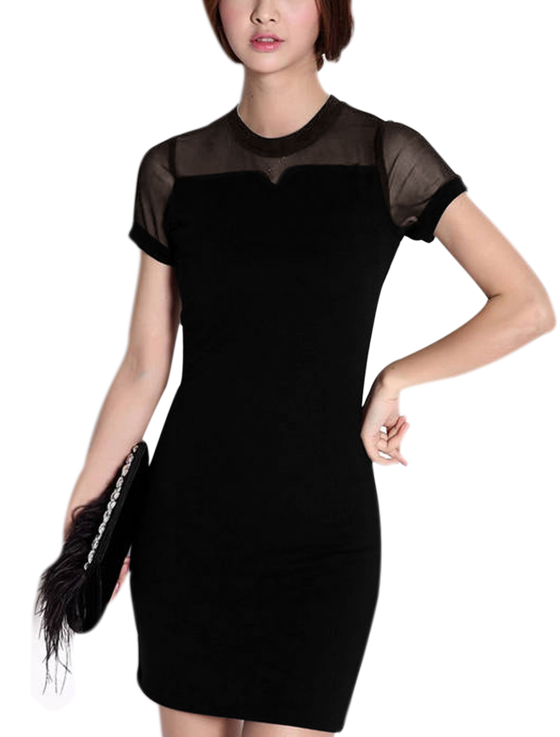 Women Mesh Panel Back Zipper Above Knee Sweet Sheathy Dress Black XS