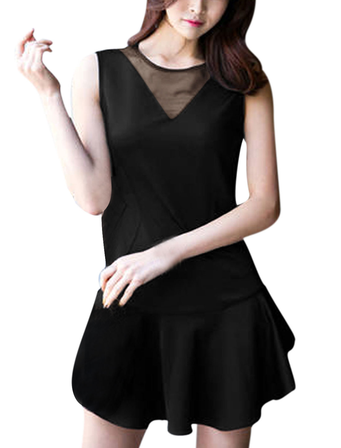 Women Mesh Panel Flouncing Hem Sweet Tank Dress Black S