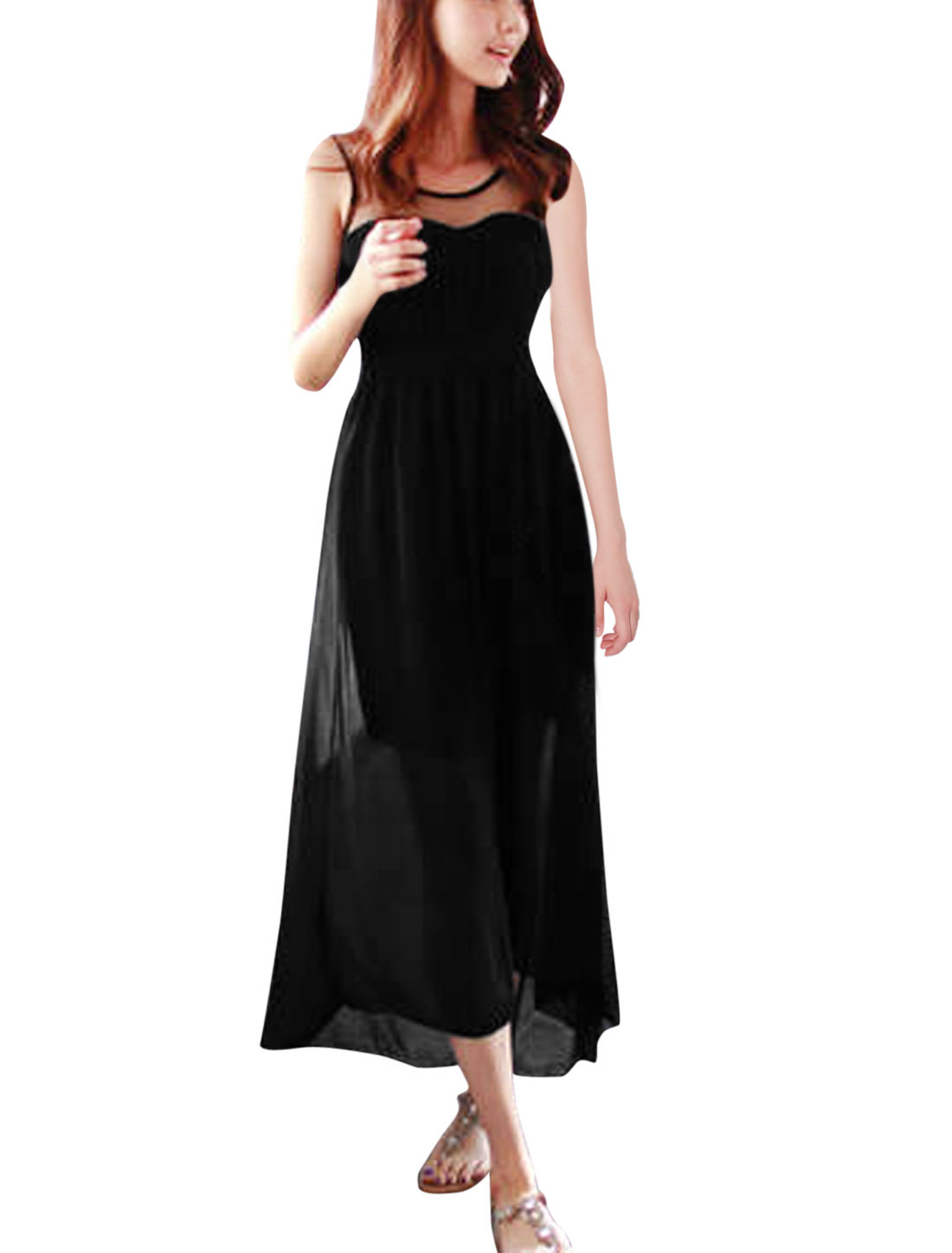 Women Mesh Panel Smocked Waist Elegant Tank Dress Black S
