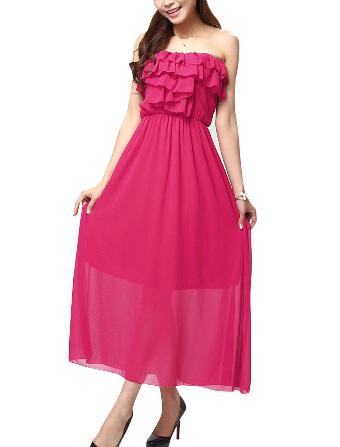 Women Ruffled Embellished Upper Full Length Sexy Corset Dress Fuchsia XS