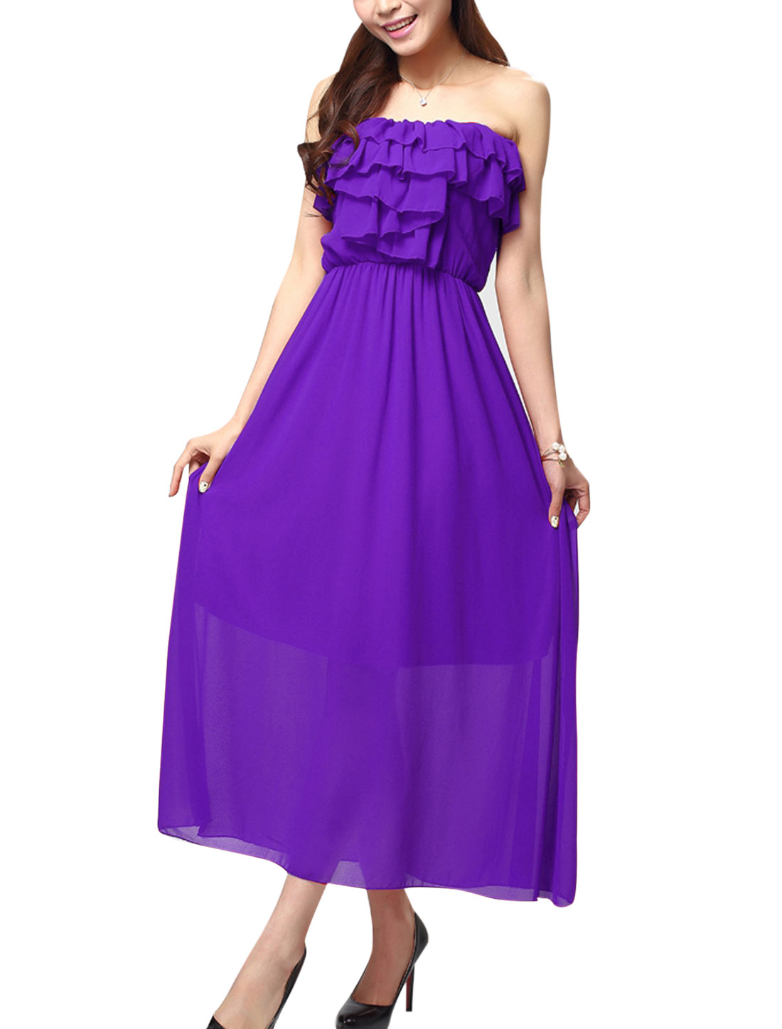 Women Invisible Shoulder Strap Bare Back Maxi Sexy Corset Dress Purple XS