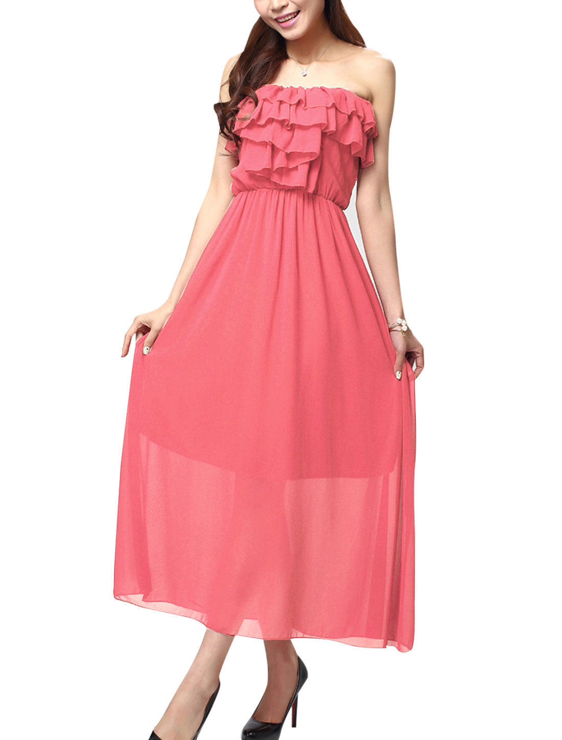 Women Ruffled Design Lining Bare Back Maxi Sexy Corset Dress Pink XS