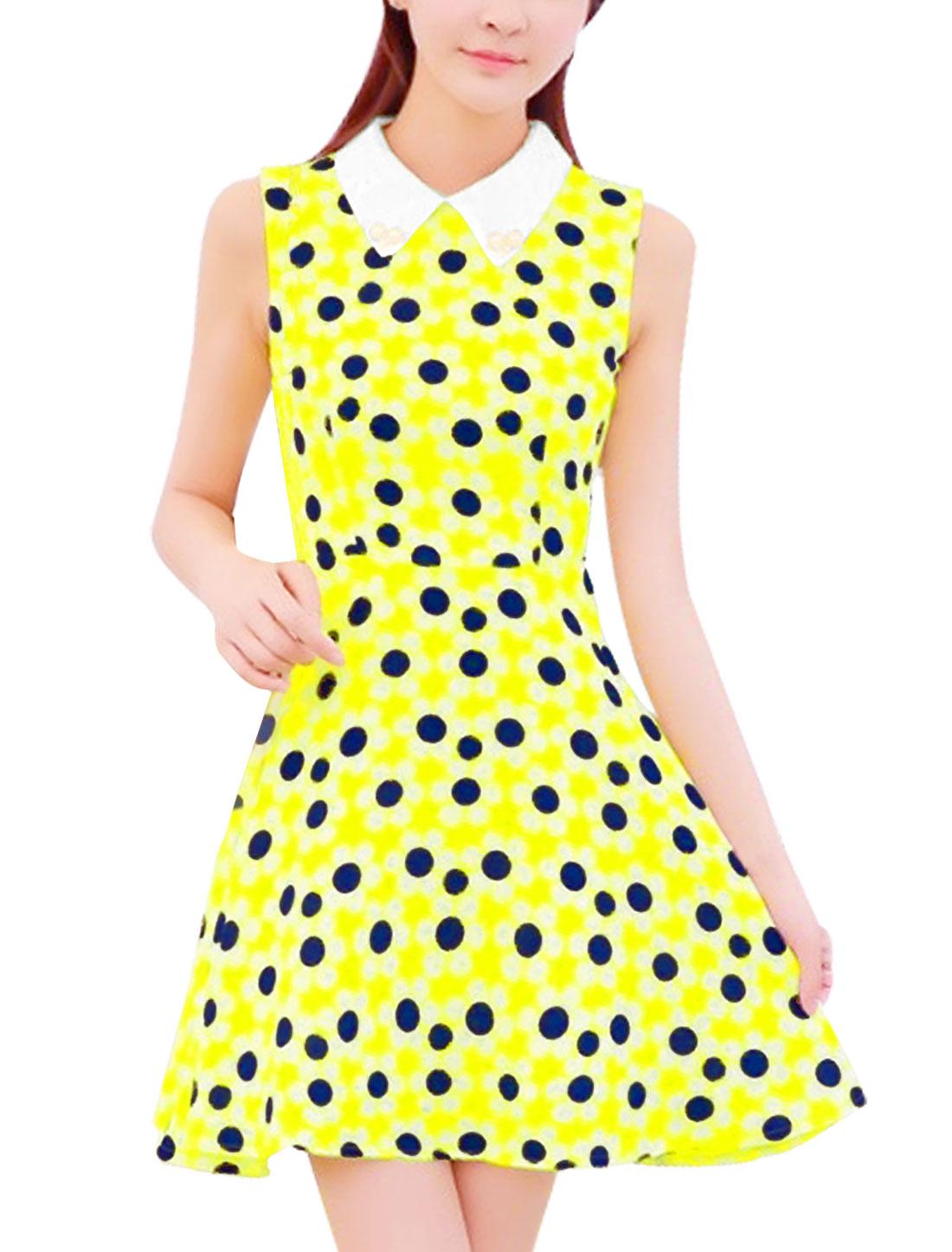 Women Beads Decor Doll Collar Sleeveless A-line Dress Yellow S