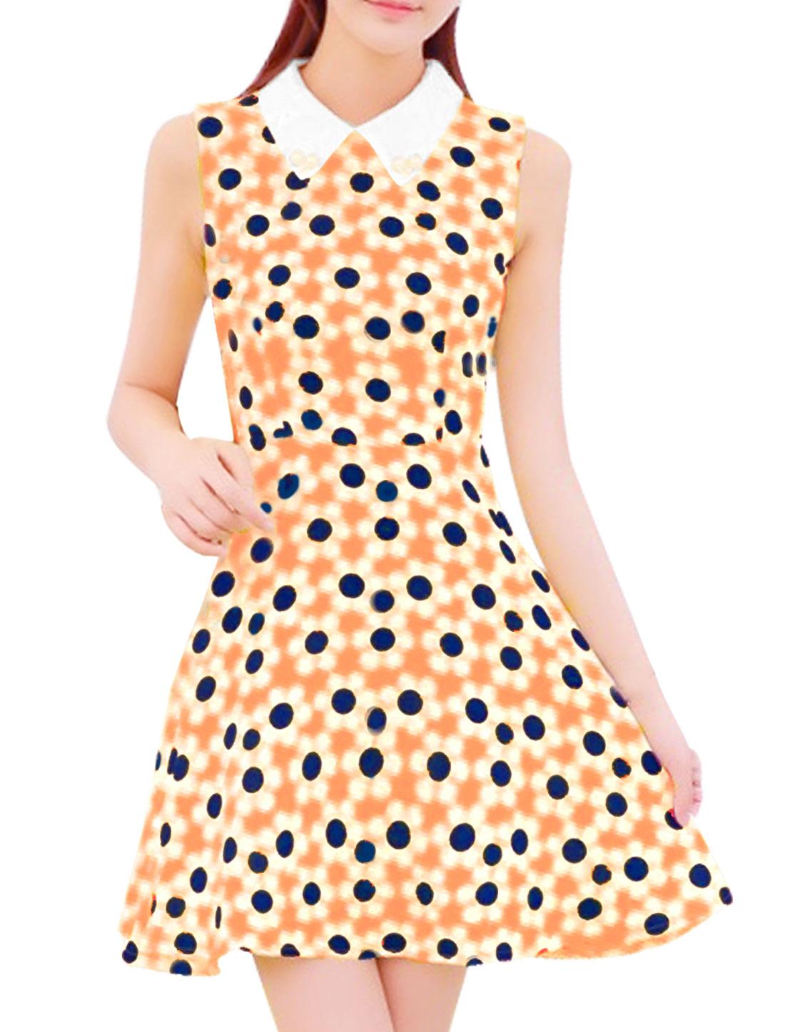 Women Sleeveless Concealed Zipper Back Flower Pattern Dress Orange S