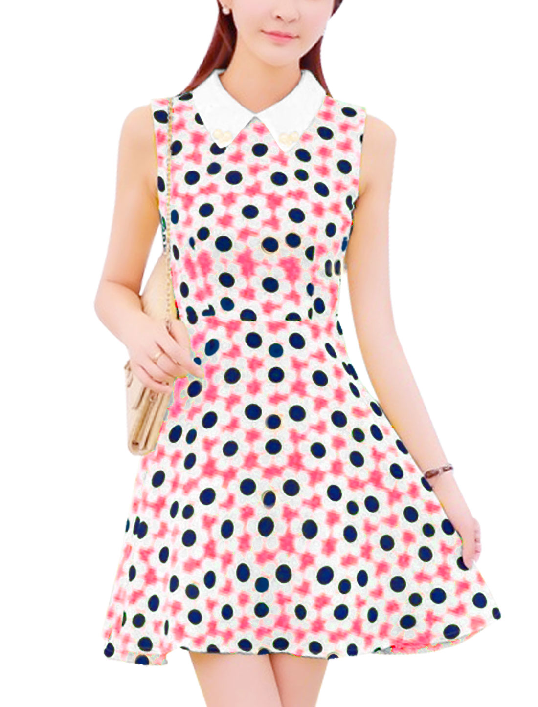 Women Peter Pan Collar Hidden Zipper Back Flower Pattern Dress Hot Pink S