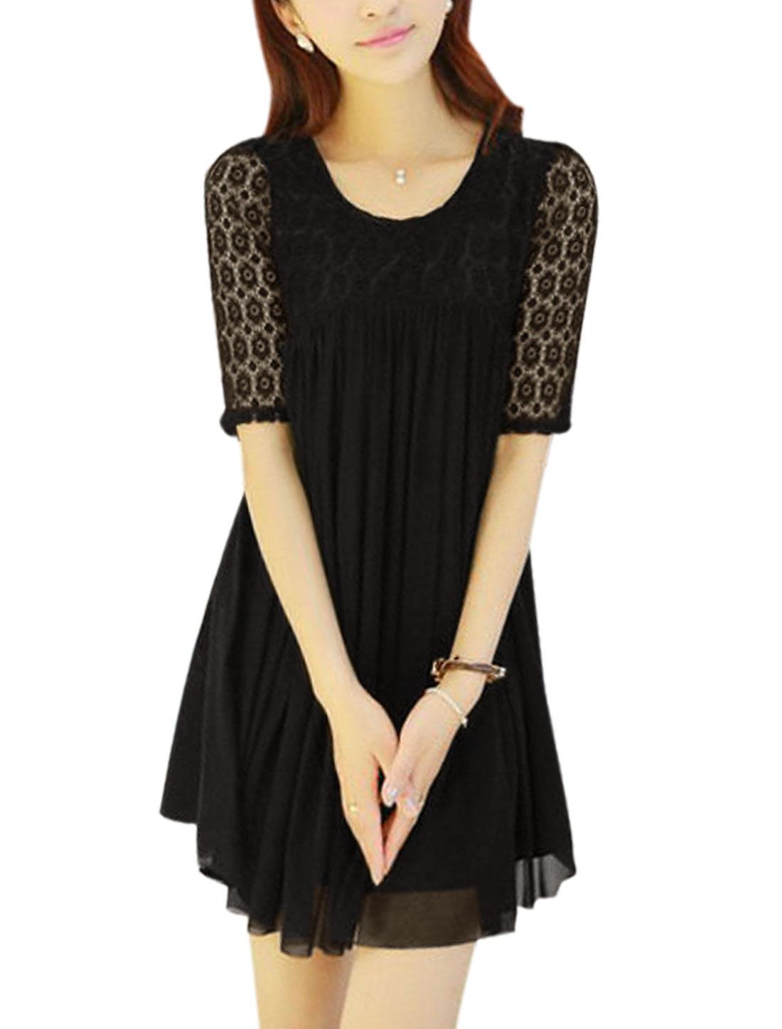 Ladies Sweet Elbow Sleeve Flouncing Hem Flower Design Mesh Dress Black M