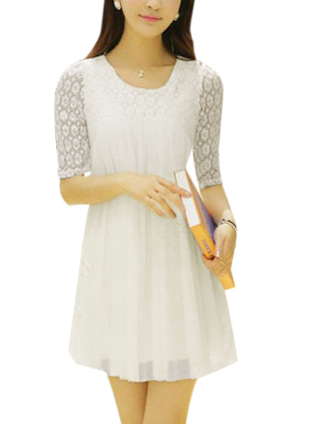 Ladies Sweet Elbow Sleeve Hollow Out Design Mesh Dress White M