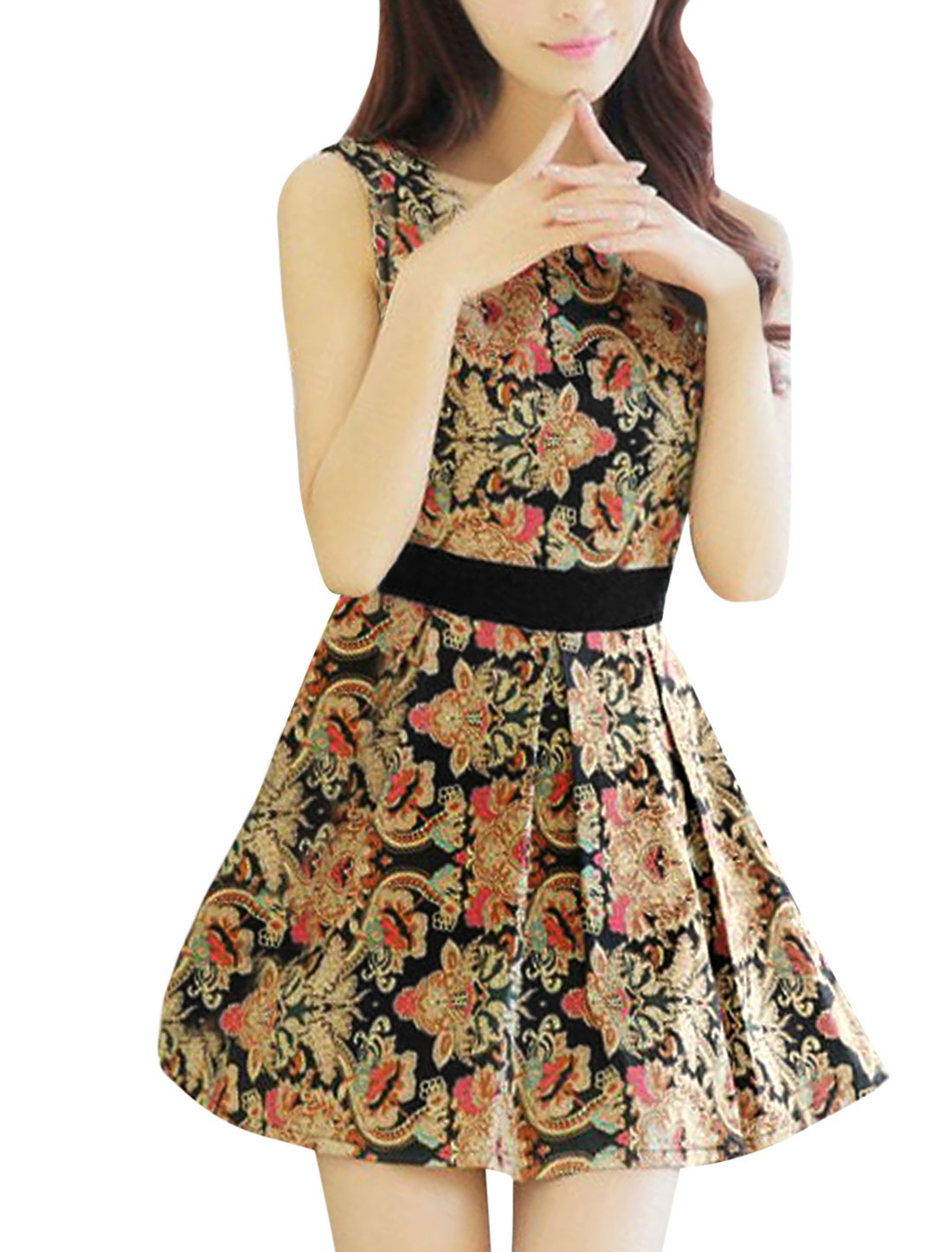 Women Sleeveless Net Splicing Floral Prints Elegant Tank Dress Black M