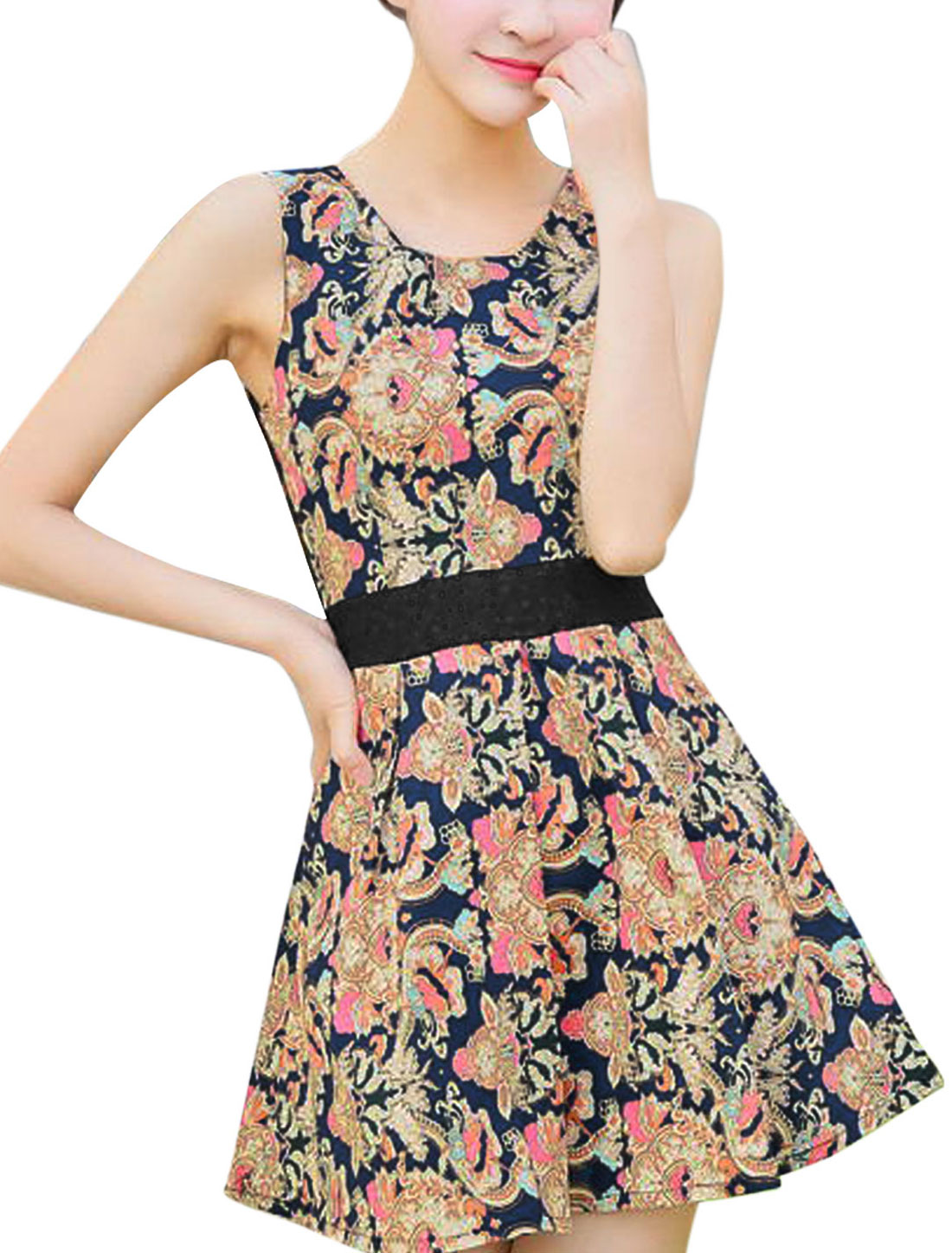 Women Hollow Out Detail Floral Prints Elegant Tank Dress Navy Blue M