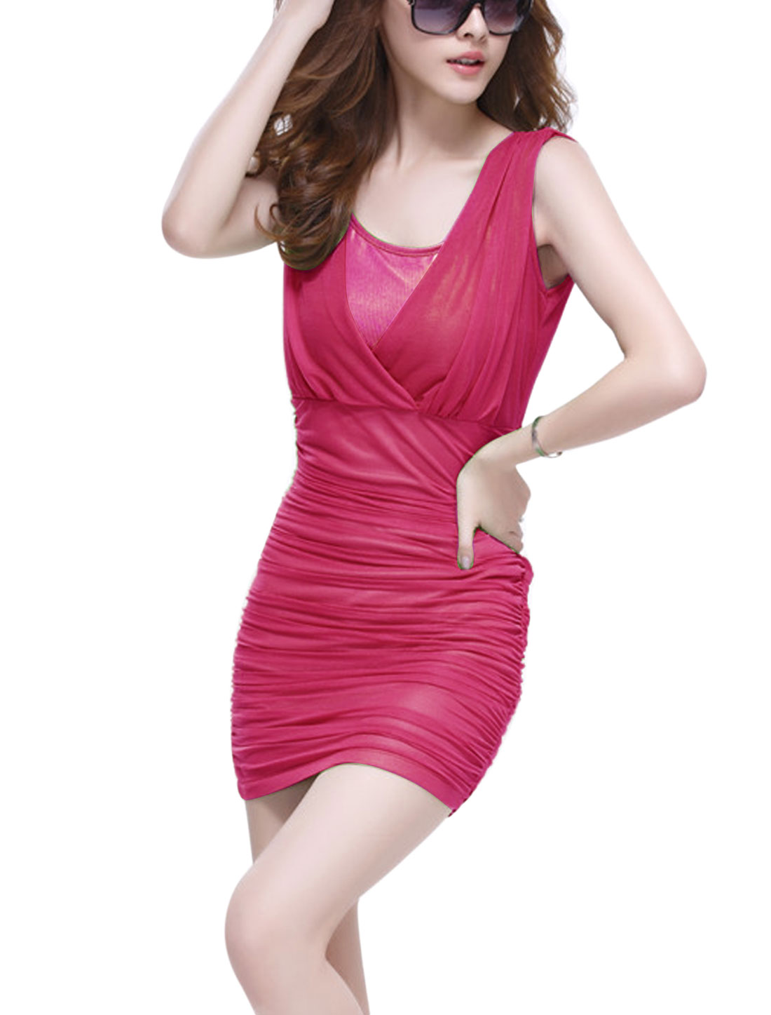 Women Over Hip Design Shirred Back Sheathy Mesh Ruched Dress Fuchsia M