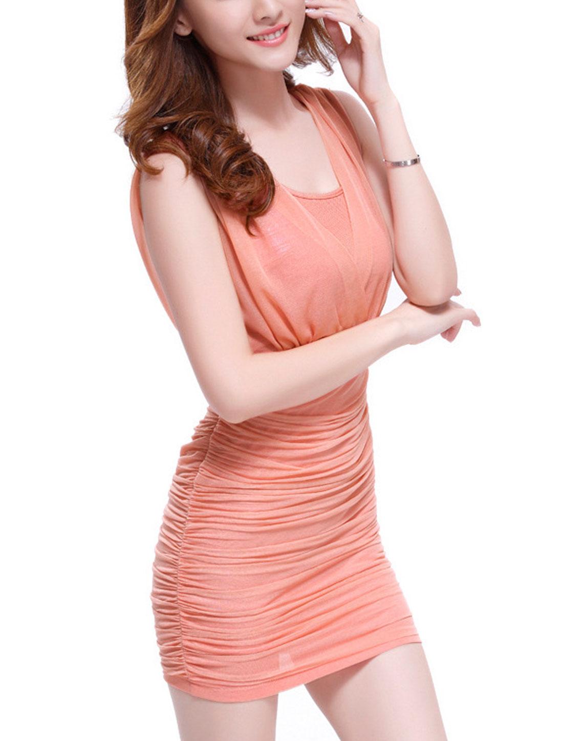 Women Round Neck Shirred Back Sheathy Mesh Ruched Dress Pink M