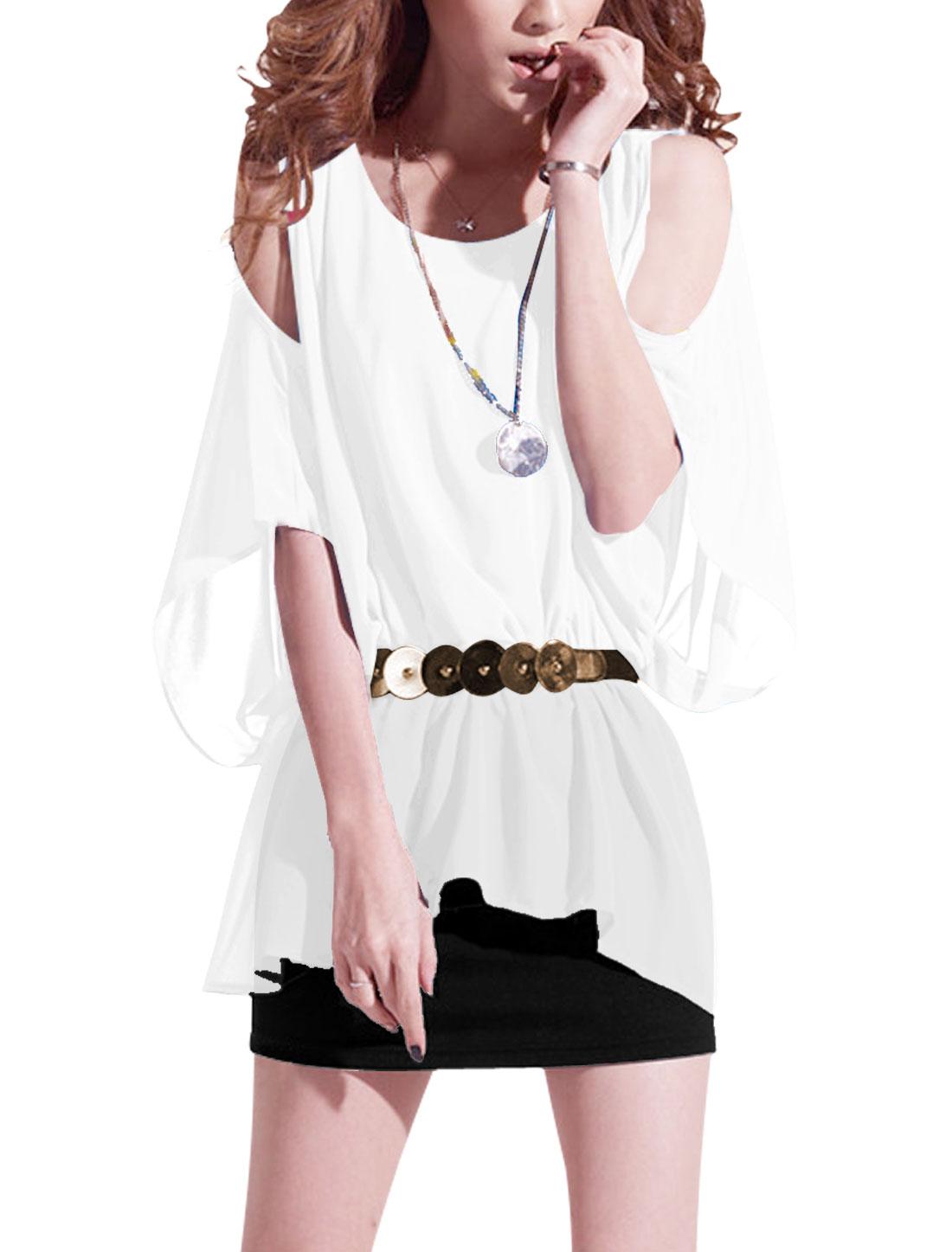 Lady White Black Round Neck Cut Out Shoulder Chic Blouson Dress w Waist Strap S
