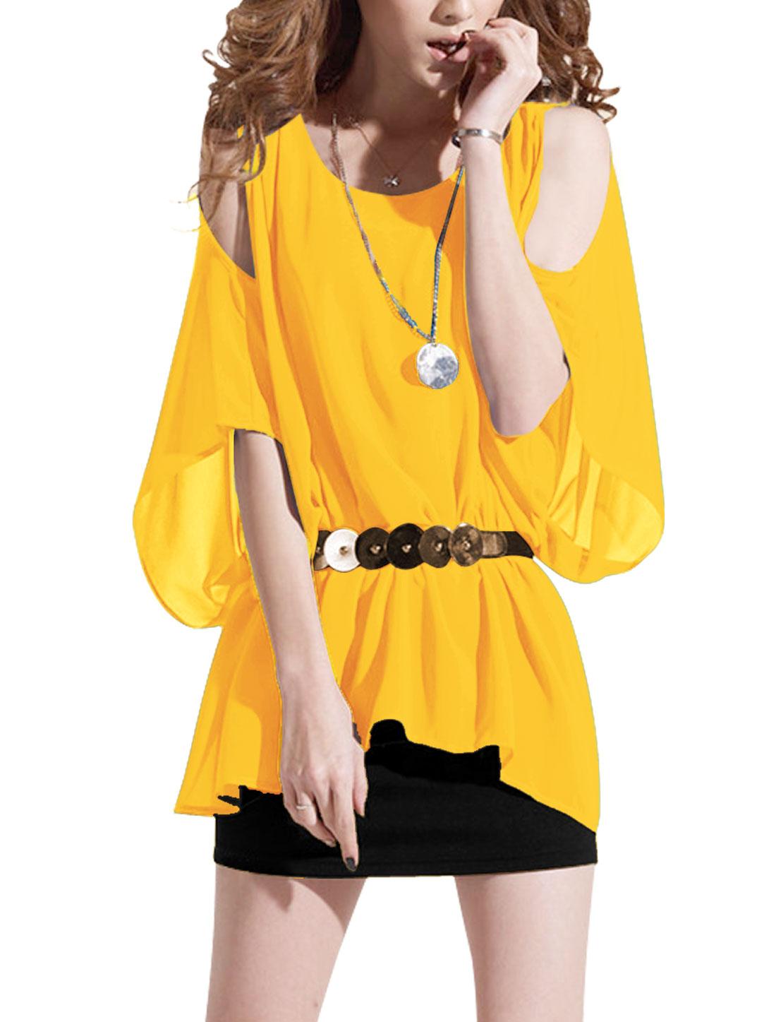 Lady Yellow Black Cut Out Shoulder Above Knee Blouson Dress w Waist Strap S