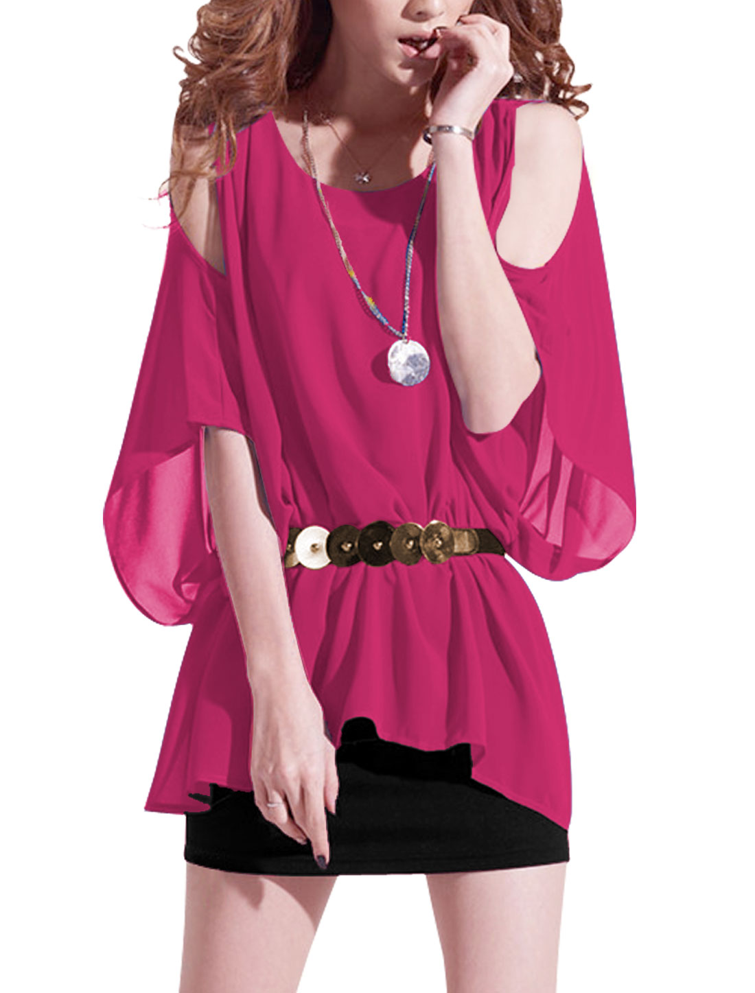 Lady Fuchsia Fake Two Piece Design Stretchy Waist Blouson Dress w Waist Strap S