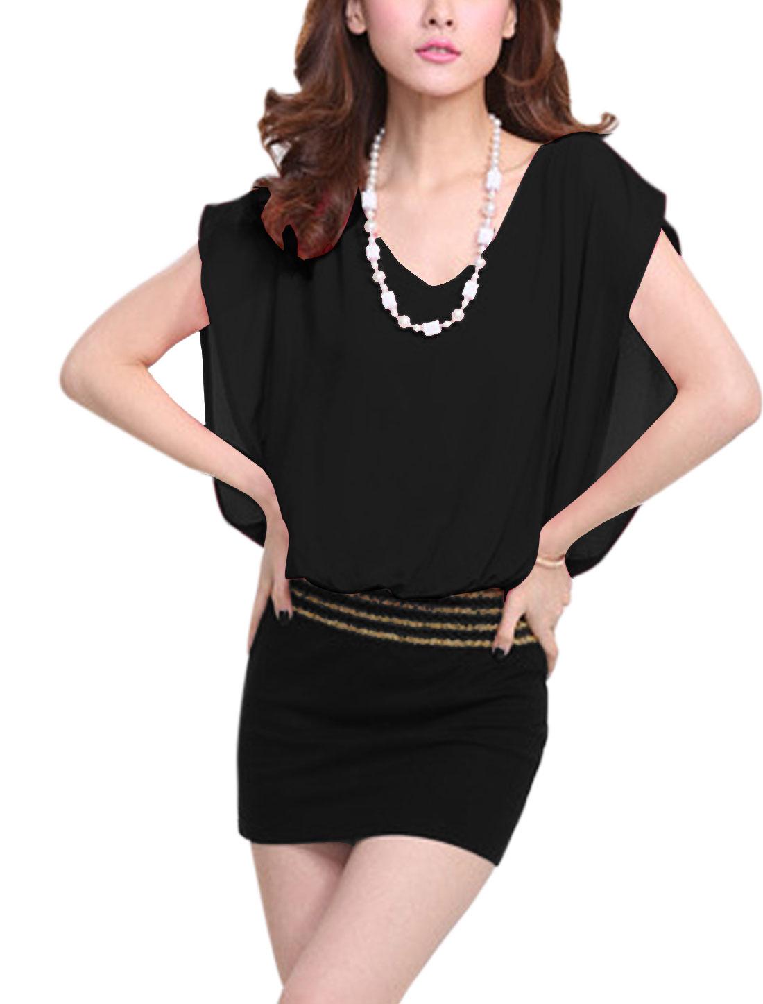 Women Sleeveless Chiffon Splicing Above Knee Elegant Dress Black M