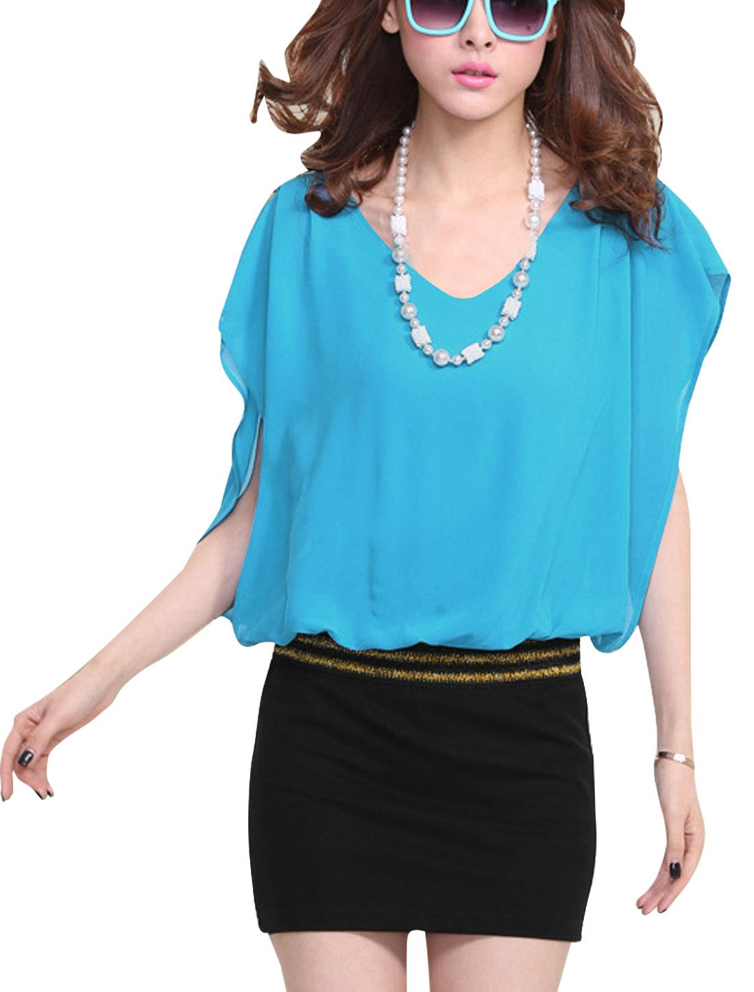 Women Glitter Detail Chiffon Splicing Elegant Dress Light Blue M