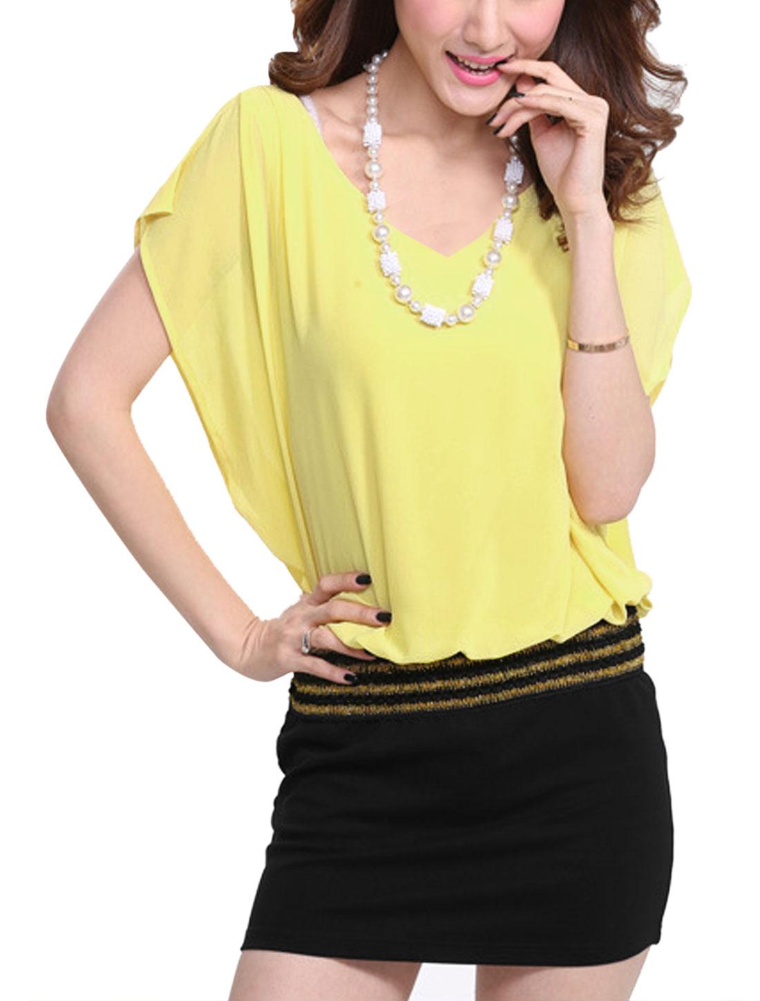 Women Chiffon Splicing Fake Two Piece Elegant Dress Light Yellow M