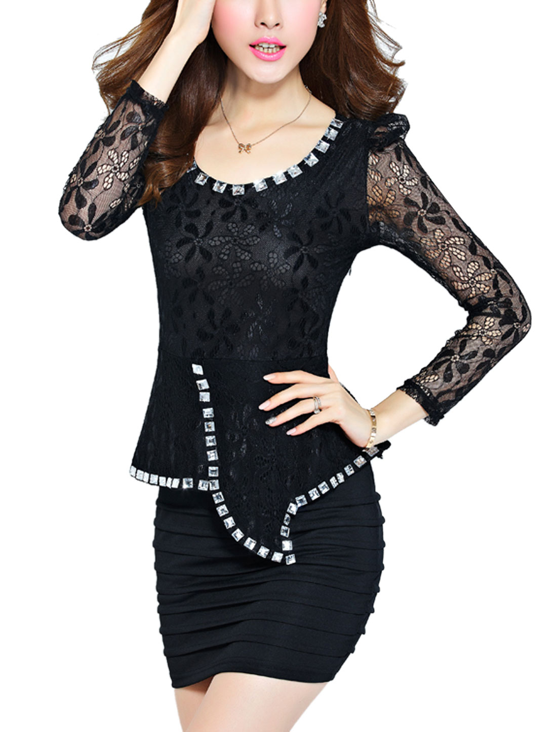 Women Long Lace Sleeve Textured Design Elegant Sheathy Dress Black XS