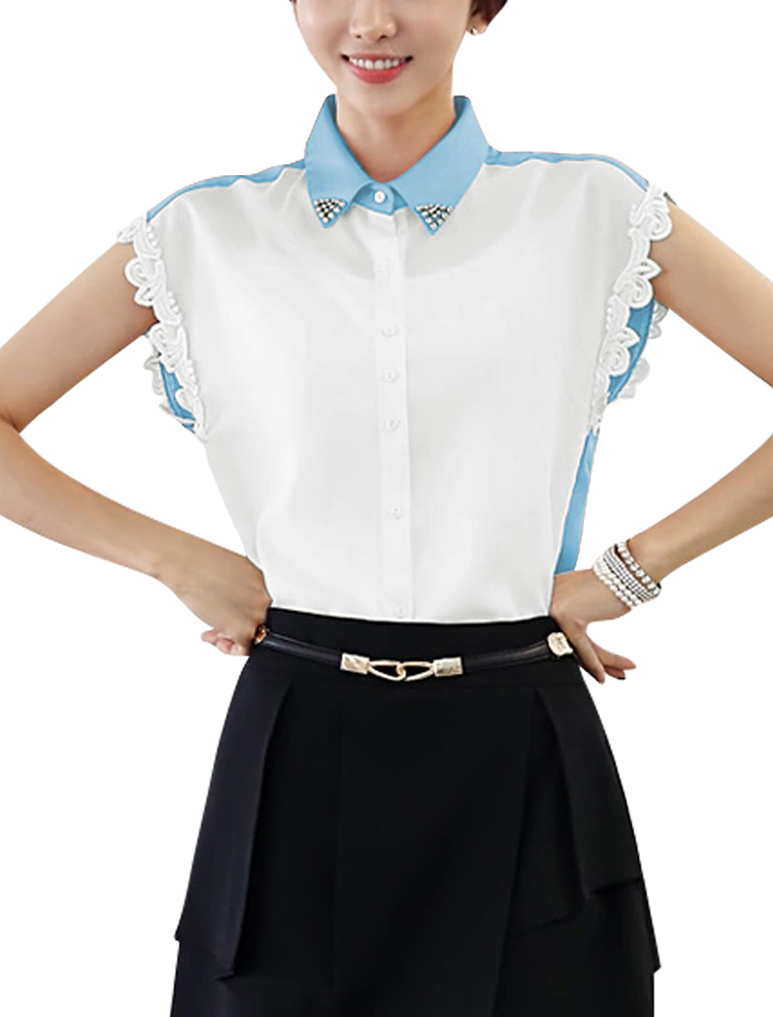 Women Point Collar Color Block Sheerness Elegant Chiffon Top Shirt Light Blue White S