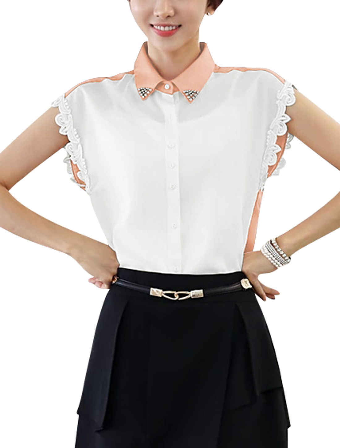 Women Scalloped Trim Color Block Elegant Chiffon Top Shirt Pale Pink White S