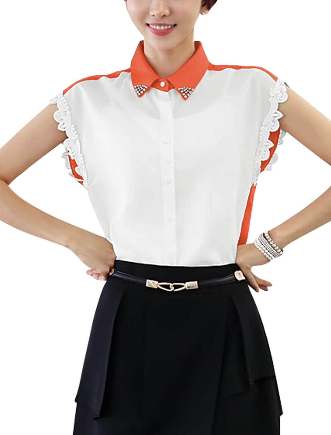 Women Single Breasted Bead Adorn Elegant Chiffon Top Shirt Orange White S