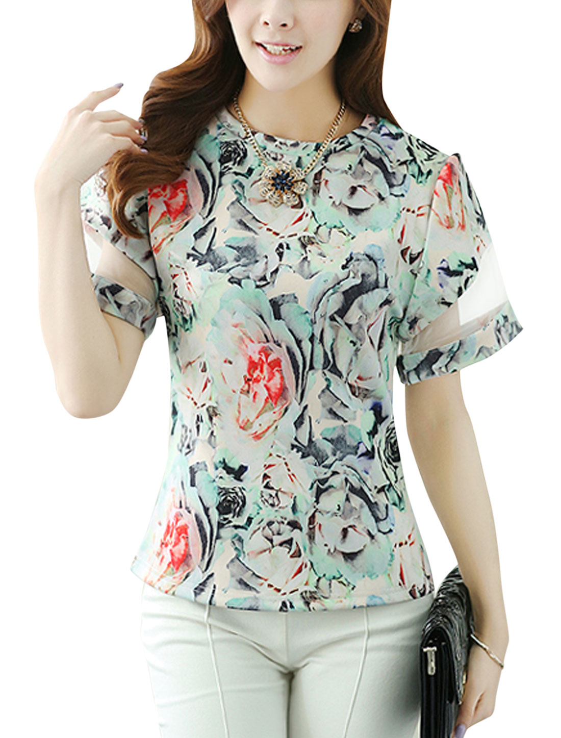 Lady Floral Prints Round Neck Organza Panel Chic Blouse Mint XS